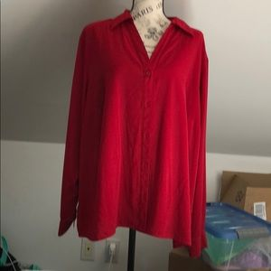 Red blouse with flattering collar size 2x